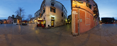Evening falling on the Campo San Giacomo dell'Orio in the Santa Croce sestiere of Venice, Italy.  Click to view this panorama in new fullscreen window