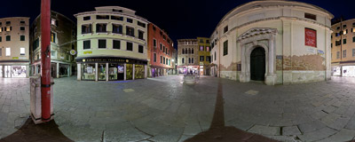Campo San Lio in the Castello sestiere of Venice, Italy.  Click to view this panorama in new fullscreen window