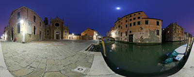 Campo Madonna dell'Orto in front of the Gothic church of the same name in the Cannaregio sestiere of Venice, Italy.  Click to view this panorama in new fullscreen window