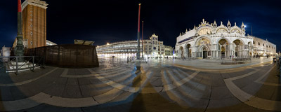 The famous St. Mark's Square (Piazza San Marco) in Venice, Italy.  Click to view this panorama in new fullscreen window