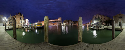 San Marcuola vaporetto stop over the Canal Grande in Venice.  Click to view this panorama in new fullscreen window