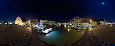 On the Ponte degli Scalzi bridge in Venice, Italy.  Click to view this panorama in new fullscreen window