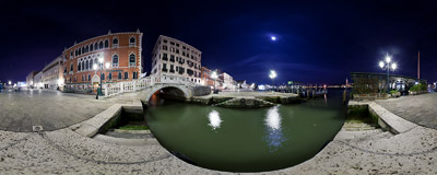 The Riva degli Schiavoni waterfront boulevard in Venice .  Click to view this panorama in new fullscreen window