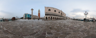A cloudy winter sunrise on the Piazzetta in Venice, Italy.  Click to view this panorama in new fullscreen window