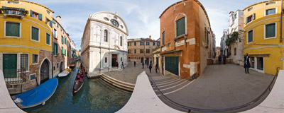 On a bridge leading to the famous Renaissance church of Santa Maria dei Miracoli in Venice.  Click to view this panorama in new fullscreen window