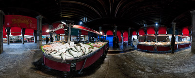 Pescheria - the fish market near the Rialto Bridge in Venice.  Click to view this panorama in new fullscreen window