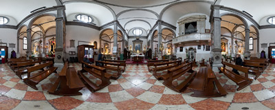 Inside the church of San Felice in the Cannaregio district of Venice.  Click to view this panorama in new fullscreen window