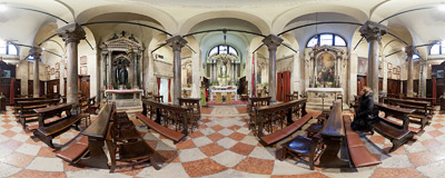 Inside the church of San Giacomo di Rialto in the San Polo district of Venice.  Click to view this panorama in new fullscreen window