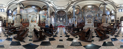 Inside the church of San Zaccaria in the San Marco district of Venice.  Click to view this panorama in new fullscreen window