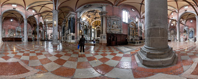 Inside the Gothic church of Santi Giovanni e Paolo in the Castello district of Venice.  Click to view this panorama in new fullscreen window