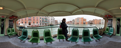Aboard the #1 vaporetto water bus on the Canal Grande in Venice.  Click to view this panorama in new fullscreen window