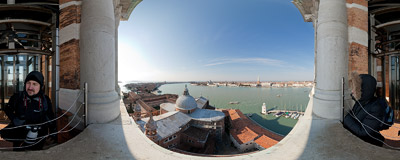 The bell tower of the San Giorgio Maggiore church in Venice.  Click to view this panorama in new fullscreen window