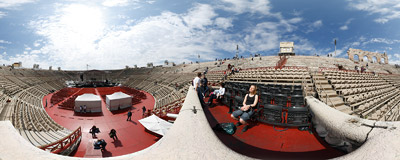 Inside the Arena di Verona, a Roman amphitheatre in Piazza Bra in Verona, Italy, famous as the venue of music and opera performances.  Click to view this panorama in new fullscreen window