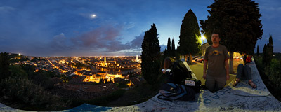 The famous view of Verona, Italy, across the Adige river from the San Pietro hill.  Click to view this panorama in new fullscreen window