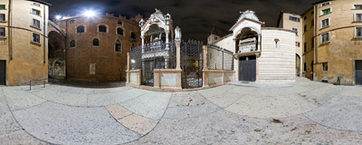 The Scaliger Tombs in the centre of Verona, Italy.  Click to view this panorama in new fullscreen window