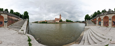 On the banks of the Adige river in Verona, Italy.  Click to view this panorama in new fullscreen window