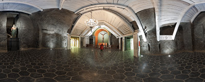 The Chapel of the Holy Cross in the salt mine in Wieliczka.  Click to view this panorama in new fullscreen window