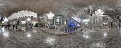 The Chapel of Saint Kinga, the most famous underground chamber of the salt mine in Wieliczka.  Click to view this panorama in new fullscreen window