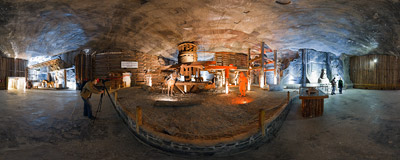 Inside the Chamber of Casimir the Great (Komora Kazimierza Wielkiego) in the salt mine in Wieliczka.  Click to view this panorama in new fullscreen window