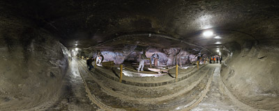 Inside the Sielec chamber in the salt mine in Wieliczka.  Click to view this panorama in new fullscreen window