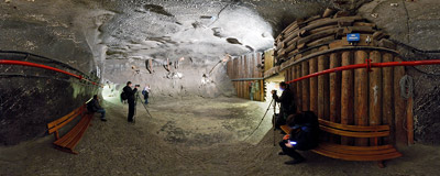 Inside the Spalone chamber in the salt mine in Wieliczka.  Click to view this panorama in new fullscreen window