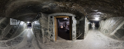 Inside the Kunegunda corridor in the salt mine in Wieliczka.  Click to view this panorama in new fullscreen window
