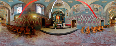Inside the reformed Franciscan church of the Stigmata of St. Francis in Wieliczka.  Click to view this panorama in new fullscreen window