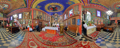 Inside the 16th century wooden church of St. Sebastian in Wieliczka.  Click to view this panorama in new fullscreen window