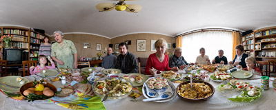 Traditional Easter breakfast in Poland includes cold meat, horseradish and eggs.  Click to view this panorama in new fullscreen window