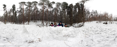 Our traditional Easter Sunday walk, this time through the forest full of fresh snow.  Click to view this panorama in new fullscreen window