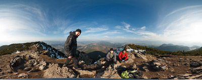 A merry company on the summit of Veľký Choč (1608 m), Chočské vrchy mountain range, Slovakia.  Click to view this panorama in new fullscreen window