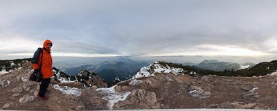 On the summit of Veľký Choč (1608 m).  Click to view this panorama in new fullscreen window