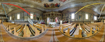 Inside the Eastern-Orthodox (now Roman Catholic) church of St. Michael the Archangel from 1821 in Wierchomla Wielka.  Click to view this panorama in new fullscreen window