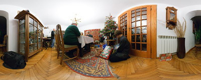 In Poland presents are delivered by the Angel and put under the Christmas tree on Christmas Eve.  Click to view this panorama in new fullscreen window