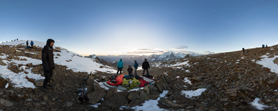 Having survived a night just below the summit of Wildgärst (2891 m) in the Swiss Alps.  Click to view this panorama in new fullscreen window