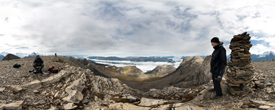 On the summit of Wildgärst (2891 m) in the Swiss Alps.  Click to view this panorama in new fullscreen window