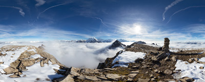 On the lower E summit of Wildgärst (2886 m) in the Swiss Alps.  Click to view this panorama in new fullscreen window