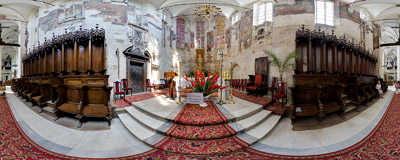 Presbytery of the Church of the Nativity of the Blessed Virgin Mary in Wiślica.  Click to view this panorama in new fullscreen window