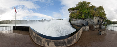 The Rhine Falls (Rheinfall), the largest waterfall of Europe, near the town of Schaffhausen in northern Switzerland.  Click to view this panorama in new fullscreen window