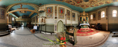 Inside the 15th century late-Gothic wooden church of the Assumption of Virgin Mary in Wola Radziszowska.  Click to view this panorama in new fullscreen window