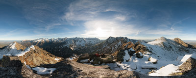 On the summit of Wielki Wołoszyn (2151 m) in the Tatra Mountains.  Click to view this panorama in new fullscreen window