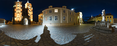 In front of St. John Baptist's Cathedral in Wrocław at night.  Click to view this panorama in new fullscreen window