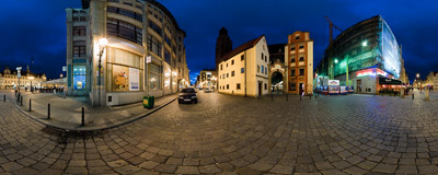 Night on the corner of the Market Square in Wrocław.  Click to view this panorama in new fullscreen window