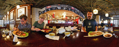 Inside the Korean-Japanese Darea restaurant on Kuźnicza Street in Wrocław.  Click to view this panorama in new fullscreen window