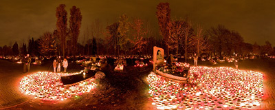 All Saints' Day at Rakowice Cemetery in Kraków.  Click to view this panorama in new fullscreen window