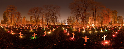 All Saints' Day at the Military Cemetery in Kraków.  Click to view this panorama in new fullscreen window