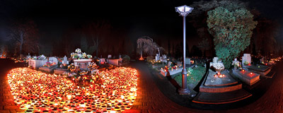 All Saints' Day at the Military Cemetery in Kraków: candles burning by the grave of the parents and the brother of Karol Wojtyła, Pope John Paul II.  Click to view this panorama in new fullscreen window