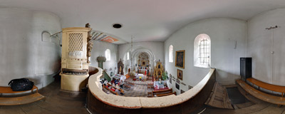 Inside the 13th century church of St. Nicholas in Wysocice.  Click to view this panorama in new fullscreen window