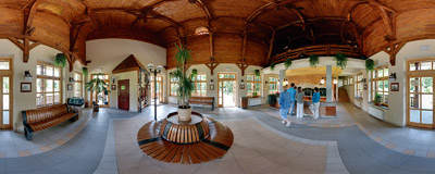 Inside the wooden pavilion housing the mineral waters tap room in Wysowa Zdrój spa resort.  Click to view this panorama in new fullscreen window