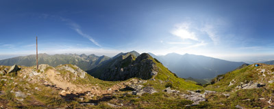 A summer morning on the summit of Ostredok (cca 2050 m) in the Western Tatra Mountains.  Click to view this panorama in new fullscreen window